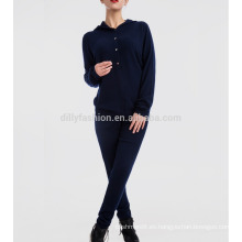Conjunto de 2 piezas de mujer con capucha y un largo pantalón de chándal