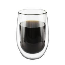 Vente en gros à la main maison créatif double tasse en verre tasse à café