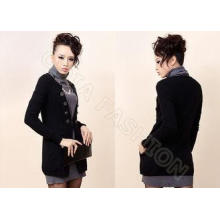 Long Black Fine Knit Ladies Wool Sweaters with Cardigan Sty