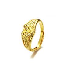 Anneaux de coeur de mariage en cuivre plaqué or réglable haute taille poli