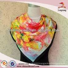 custom design twill silk scarf flora print