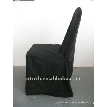 couverture standard de chaise de banquet de couleur noire, matériel de polyester de CTV564, durable et facile à laver