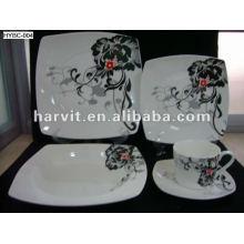 Cuisinière à micro-ondes et lave-vaisselle 20pcs décalcomanie Square Bone China Dinnerware