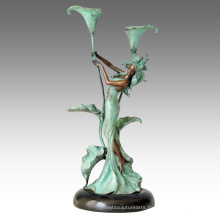 Candleholder Statue Flower Girl Candlestick Bronze Sculpture Tpch-067 / 068