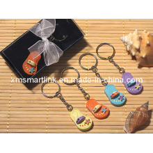 Miniature Flip Flop Decor Key Chain para presente premium