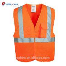 Orange Hi Vis Reflective Safety Waistcoat Vests Pockets High Reflective Warning Gear Stripes Jacket Vest Outdoor