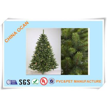 Filme plástico rígido do PVC da cor verde diferente das categorias para fazer as folhas da árvore de Natal