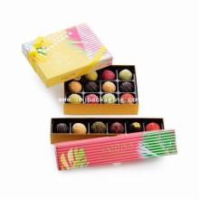 Caja de papel de embalaje de cartón de chocolate de oro con cinta