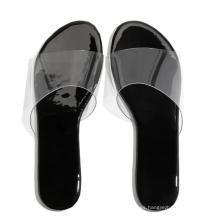 2021 black women slippers PVC flat slides plus size women sandals flat slippers ladies fashion light weight outdoor