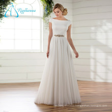 Bateau Cap Sleeve Court Train Satin 2017 Beach Wedding Dress