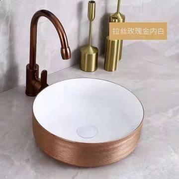 Arbeitsplatte Badezimmer Runde goldene Keramik Waschbecken Top Luxus Stil Waschbecken für Badezimmer