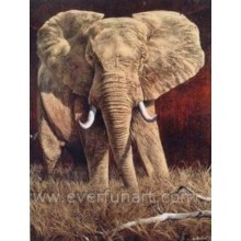 African Art Elephant Oil Painting
