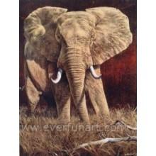 Arte africana da pintura a óleo do elefante