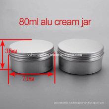 Alta calidad 80g vacía tarro de crema de tornillo alúmina / envase de crema