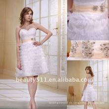 Astergarden nueva falda de moda de estilo de amor con sash mini vestido de cóctel blanco de baile de boda AS025