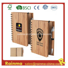 Caderno de bambu espiral com caneta de bambu