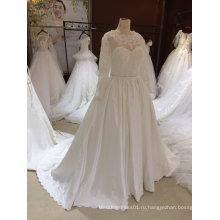 Бальное платье с длинным рукавом 395 атласные кружева тюль два в одном свадебное платье