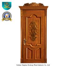 Puerta de madera maciza estilo europeo con talla (DS-018)