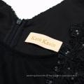 Kate Kasin Sexy sin mangas de frente escarpada V-trasera Bodycon lápiz lentejuelas negro corto vestido de fiesta de fiesta de baile KK001071-1