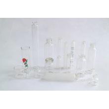 Botella del frasco cristal cosmético claro y ámbar por el tubo de vidrio neutro