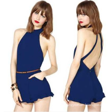 OEM Sexy Open-Back 100% Chiffon Pattern Women Jumpsuit