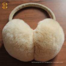Mulheres quentes de inverno Peitinhos genuínos de orelhas de pele de coelho