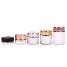 Wholesale round 1oz 3oz 4oz child safe glass food spice jar with electroplating gold childproof lid