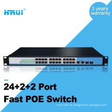 Soem-IPC / VOIP / drahtloser AP-Regal brachte 10 / 100M 48v 24 Hafen poe Schalter an