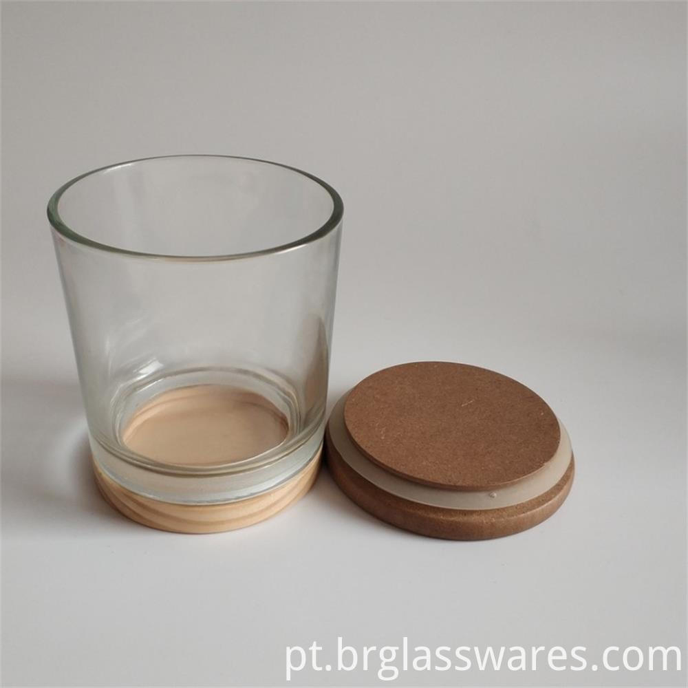 wooden top and wooden bottom glass candle jar5