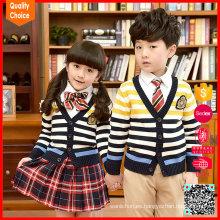 Primaria tricotados patrón de raya niños uniformes jersey uniforme