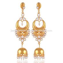 Cubic Zriconia & Pearl en oro amarillo plateado 925 de plata esterlina Jhumka mejores pendientes de regalo para las damas