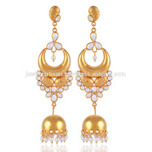Cubic Zriconia & Pearl in Yellow Gold Plated 925 Sterling Silver Jhumka Earrings best Gift for Ladies