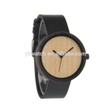 Pulseira de couro de relógio de madeira redonda aceitar logotipo de gravura personalizada