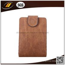 Titular de cartão de crédito de couro genuíno comercial preto personalizado