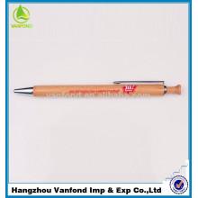 Top venda promocional clique caneta de madeira com Metal apara