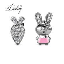 Cute Bunny Rabbit and Carrot Asymmetrical Stud Earrings for Girls