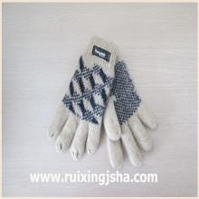 Жаккардовые вязаные шерстяные перчатки с изолирующие накладки