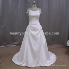 KY616 satin simple alibaba vente chaude ronde collier robe de mariée en dentelle
