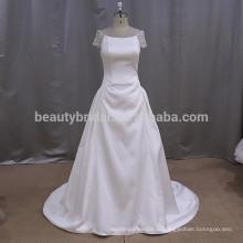 KY616 простые атласные алибаба горячие продажа круглым воротом кружева свадебное платье