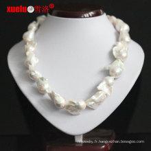 Collier de perles d'eau douce baroque à grande taille 18-20mm pour les femmes (E130133)
