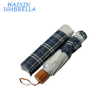 Promo Checked Design Nigeria Brazil Market Anti UV Coated Rain Portable Pocket Customized Cheap Price 3 Fold Umbrella For Sale