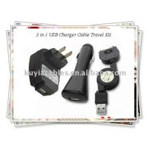 OEM 3 en 1 kit de viaje del cable del cargador del USB para el iPhone (negro)