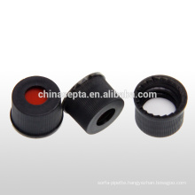 8mm pre-cut septa and black screw cap for chromatography vial