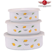 New Style 200d 3PCS White Enamel Bowl with PP Lid