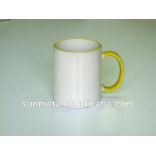 Taza de color de la sublimación amarillo 11oz