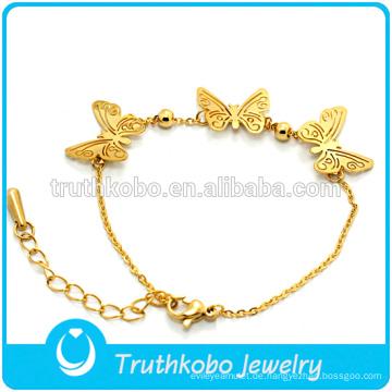 Neue Ankunft 18 Karat Vergoldet 316 Edelstahl Schmetterling Freundschaft Elastische Muster Armband Schmuck