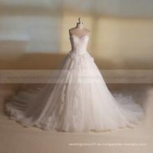 Dressy princesa dulce corazón A-línea de cuentas de encaje flores hechas a mano largo vestido de boda de tren largo