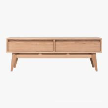 Mesa de centro rectangular de madera con almacenamiento