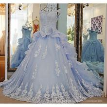 LS57001 Azul claro vestidos de casamento de ombro com um decote de migalhas capelão de cristal trem vestido de organza de casamento de praia