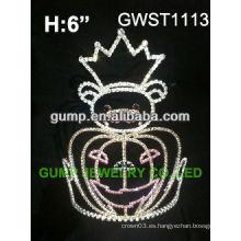 Calavera de Halloween de reina de la dama de honor corona de encargo del rhinestone - GWST1113